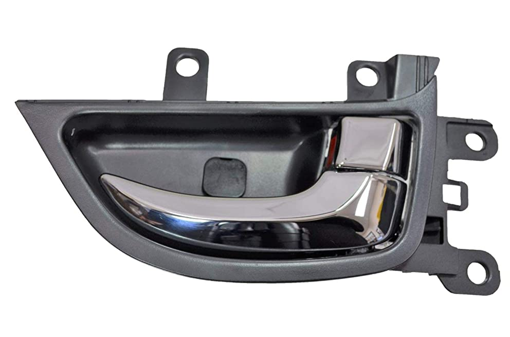 PT Auto Warehouse HY-2338MA-RR - Interior Inner Inside Door Handle, Chrome Lever/Knob with Black Housing - Rear Right Passenger Side