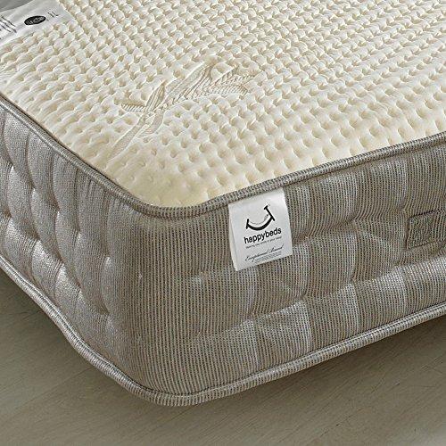 Memory Foam 2000 Pocket Sprung, Happy Beds Bamboo Vitality Medium Firm Tension Mattress with Reflex Foam - 4ft6 Double (135 x 190 cm)