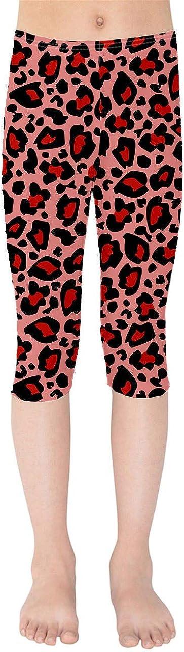 Rainbow Rules Girls' Capri Leggings - Bright Leopard Print