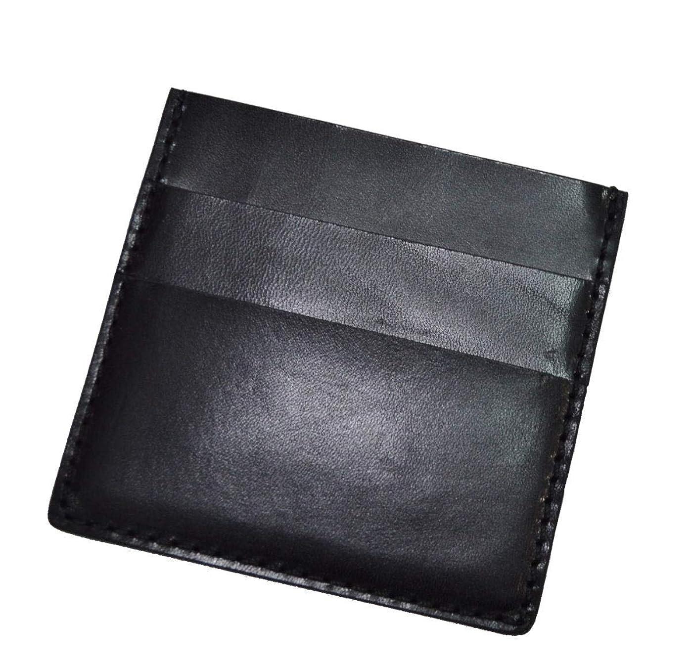 ギャロップしかしながら息切れ栃木レザー コンパクトウォレット お札とカードだけ 黒色
