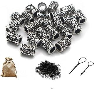Queta Rune Norse Vichingo Barba Capelli Perline Sono Realizzate in Robusto, Materiale in Lega di Zinco 400 Bande (Argento)