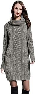 TIANMI Womens Plus Size Turtleneck Dress Long Sleeve Solid Color Dress Ladies Pullover Sweatshirt Loose Short Dress