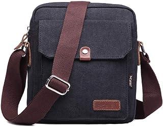 QVQVENG Messenger Bag for Men and Women, Vintage Small Canvas Shoulder Crossbody Purse-Black