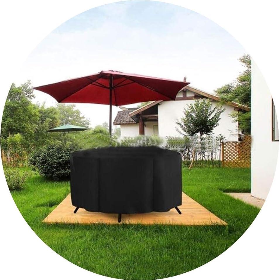 紳士ホラー未就学WAHOUM ガーデン家具カバー屋外の家具カバー防水頑丈なオックスフォードポリエステル円形のテラステーブルカバー 、16サイズ (Color : Black, Size : 120x120x85cm)