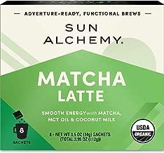 Sun Alchemy Matcha Latte, Smooth Energy with Organic Ceremonial Matcha, MCT Oil & Coconut Milk - 8 Sachets | Just Add Water & Enjoy