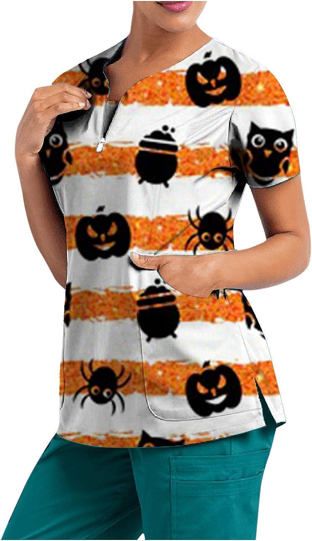 Women Sale Short Safety and trust Sleeve V-Neck Top Bat Pumpkin Stripe Ghost Halloween