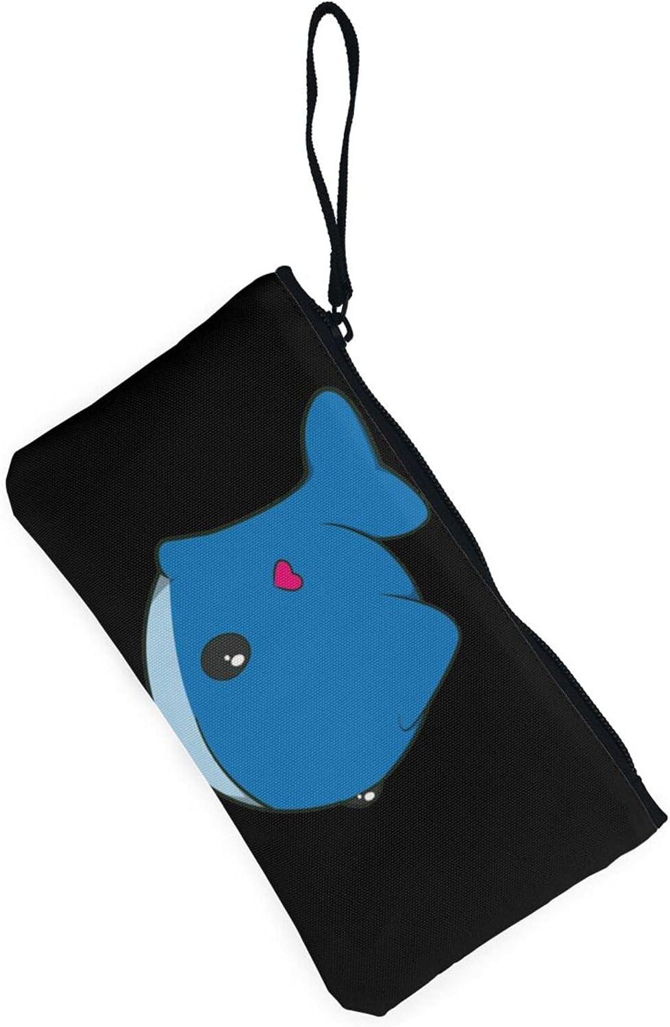 AORRUAM Cute whale Canvas Coin Purse,Canvas Zipper Pencil Cases,Canvas Change Purse Pouch Mini Wallet Coin Bag