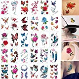 30 Sheet 3D Butterfly Temporary Tattoo Flower Body Art Fake Tattoo Sticker Floral Maple Feather False Tatttoo for Women, Girls, Kids (Tattoo Kits A)