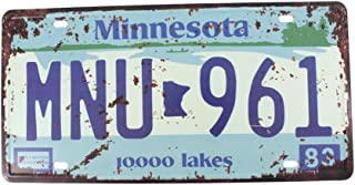 6x12 Inches Vintage Feel Metal Tin Sign Plaque for Home,bathroom and Bar Wall Decor Car Vehicle License Plate Souvenir (MINNESOTA MNU-961)