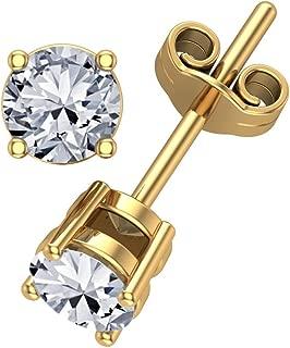 1/2 CTW Diamond Earrings Studs 4 Prong Basket Settings Friction Back 14k Yellow Gold