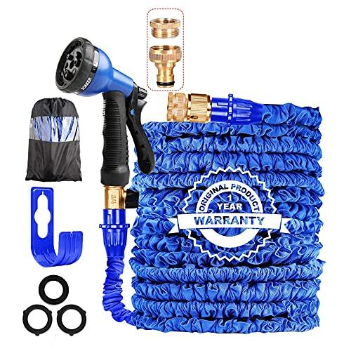 AILUZE 100FT Expandable Garden Hose Pipe-Magic Garden Hose with 8 Function Spray Gun/Storage Bag/Hose Holder,Lightweight Flexible Water Hose 1/2'3/4 Brass Fitting,Anti-Leakage(Blue-100)