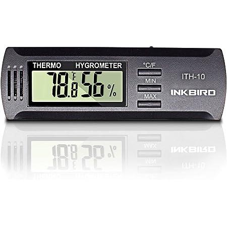 Inkbird ITH-10 Digital Thermometer and Hygrometer Temperature Humidity Monitor Humidor Guitar Ukulele Mason Jar