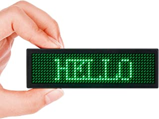 LED Name Tag, MECO Name Badge Rechargeable Pin Magenta Price Tag Reusable Business Card Screen with 4812 Pixels Programming Scrolling for Restaurant Shop Party Bar Exhibition(PC Only) - Green