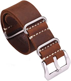 Replacement Watch Band Strap Vintage Handmade Crazy Horse Leather Zulu NATO 20mm22mm24mm