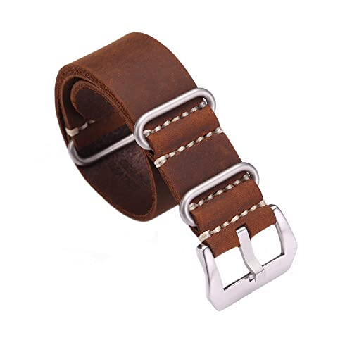 76a188905b0 Carty Replacement Watch Band Strap Vintage Handmade Crazy Horse Leather  Zulu NATO 20mm22mm24mm