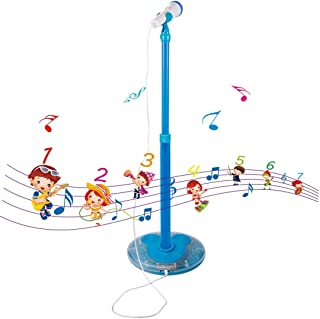 PeleusTech® Childrens Karaoke Machines, Kids Karaoke Stand Microphone Adjustable Cool Music Microphone Toy with Light Effect - (Blue)