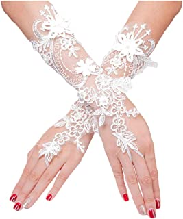 Lace Flower Fingerless Gloves Pearl Wedding Bridal Glove for Women and Girls