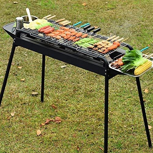 Fantastic Prices! SCYMX Portable Stainless Steel Charcoal Barbecue Grill with Heavy Duty BBQ Grill T...