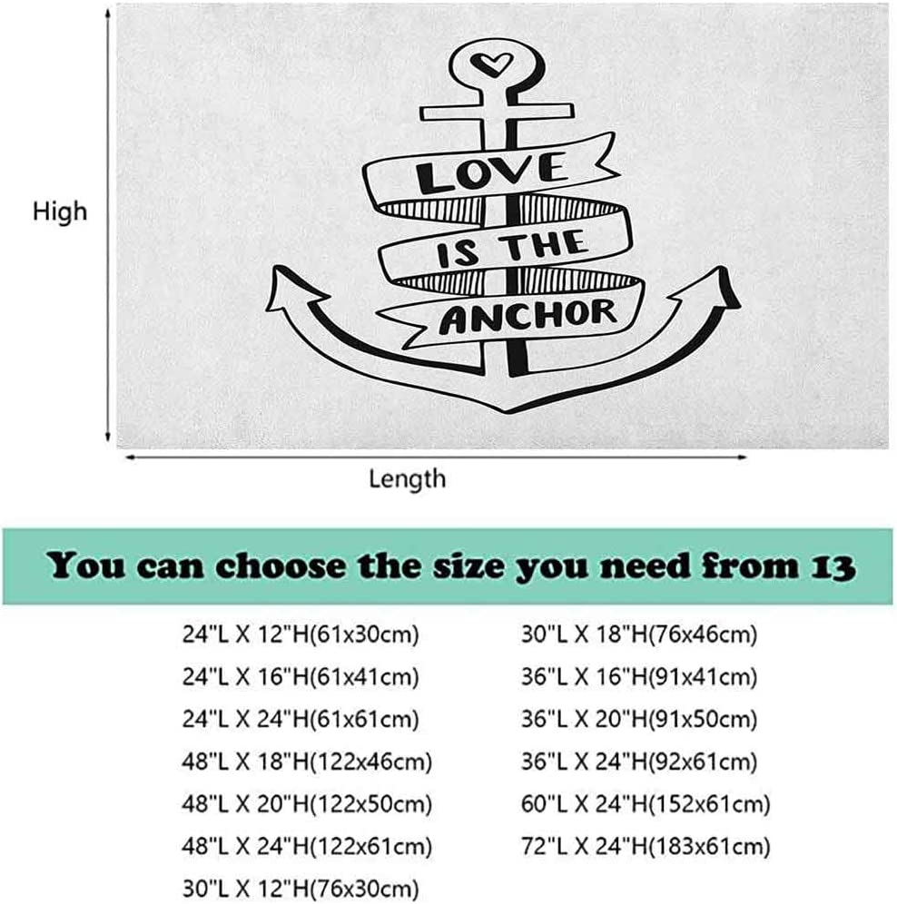 ScottDecor Anchor Fish Tank Background Hand Drawn Monochrome Nautical Motifs with Love is The Anchor Quote and Heart 3D Double-Sided Adhesive Wallpaper Black and White
