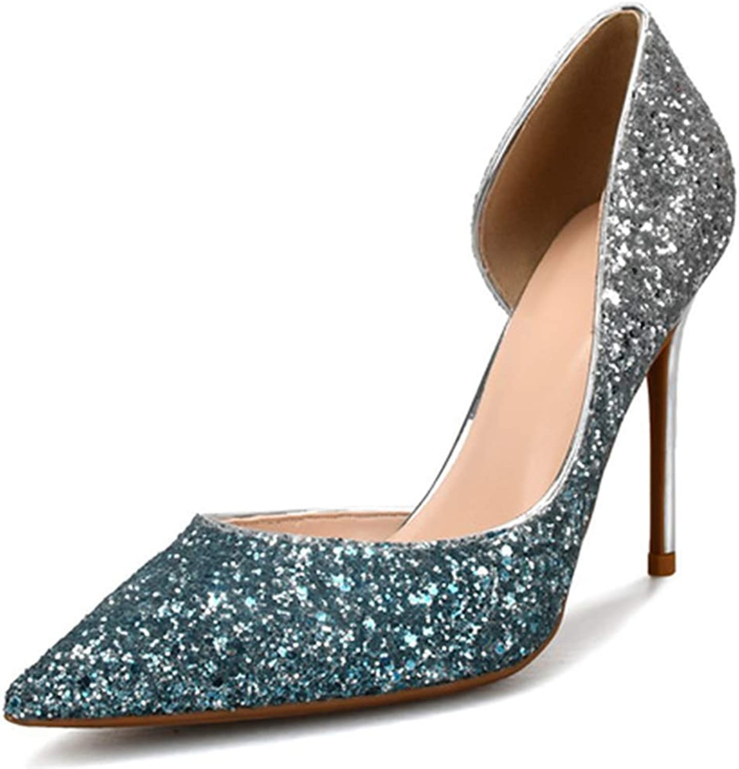 Lelehwhge Women's Sexy Sequins Pointed Toe Stiletto Heels Slip On D'Orsay Pumps shoes Purple and gold 3 in 7.5 M US