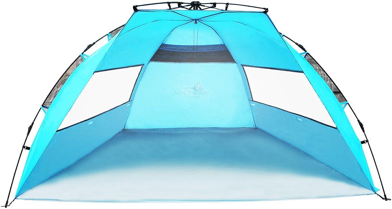 Latinaric Leicht Strandmuschel Strandzelt mit Tragetasche Sonnenschutz UV-Schutz UPF 50+ Outdoor Camping für 2-3 Personen, leicht zu installieren