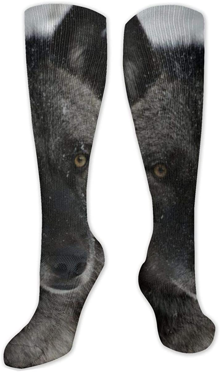 Wild Snow Wolf Knee High Socks Leg Warmer Dresses Long Boot Stockings For Womens Cosplay Daily Wear