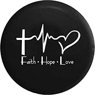 Faith Hope Love Cross Heart EKG Jesus Religious Spare Tire Cover fits SUV Camper RV Accessories White Ink 33 in