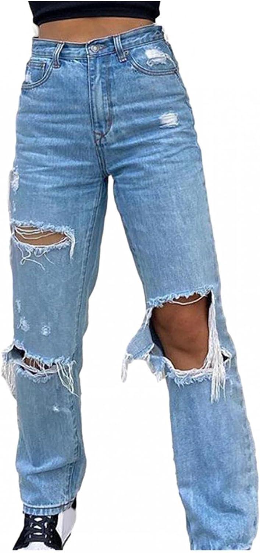 Lovor Y2K Fashion Jeans for Women Button High Waist Pocket Elastic Hole Jeans Trousers Loose Denim Pants Streetwear