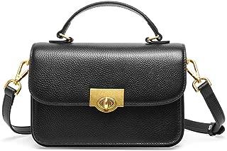 Fashion Simple and Versatile Compact Bills Shoulder Slung Leather Handbags (Color : Black)