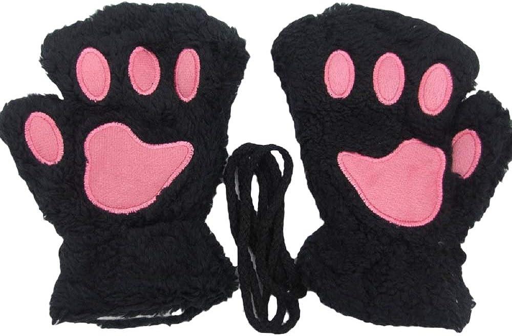 VARWANEO Women's Winter Warm Gloves Cute Cartoon Cat Embroidered Half Finger Cat Claw Plush Gloves