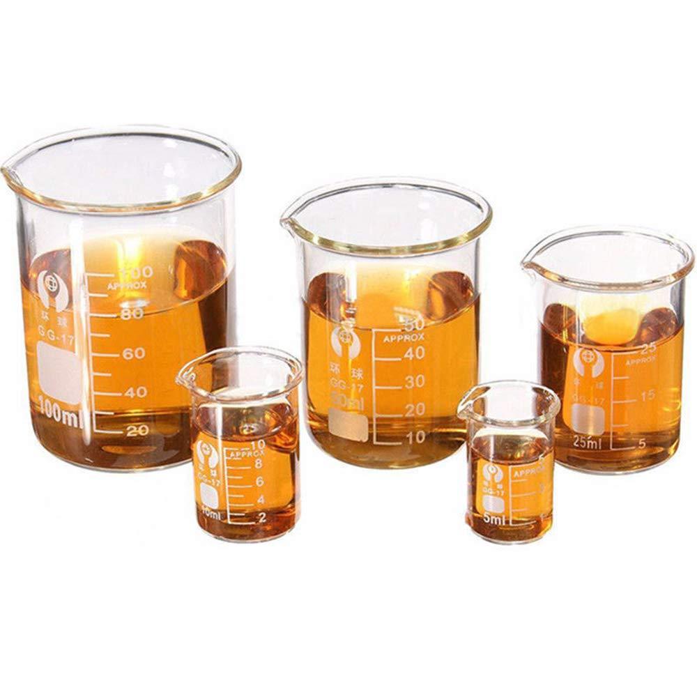 LTKJ Overseas parallel import regular item 5pcs OFFicial mail order Set Clear Glass Borosilica Chemistry Laboratory Beaker