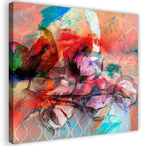 Impression sur Toile abstrait dessin Image Photo fleurs nature rouge 80x80 cm