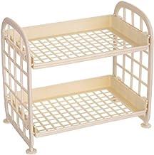 Fdjhh Rek desktop-opbergrek met en 2 planken opbergrek 2-traps staand frame multifunctioneel desktoprek voor badkamer keuk...