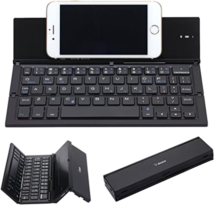 Folding Keyboard, Geyes Portable Ultra-Thin Wireless BT Keyboard Aluminum Alloy with Kickstand Universal fit iPhone X/iPhone 8/7 Plus/Windows/iOS/Mac/Android Tablet/Smartphone (Black)