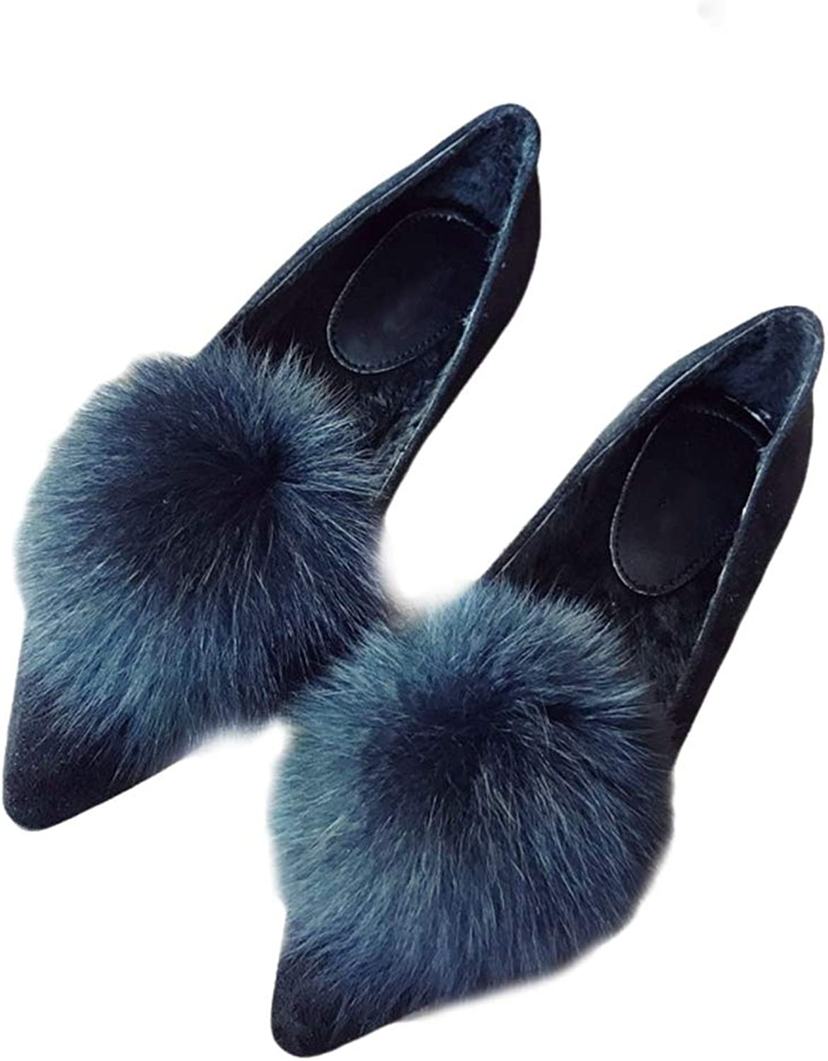 August Jim Womens Flat shoes,Pointed Toe Slip On Fuzzy Ball Soft Suede Dress shoes