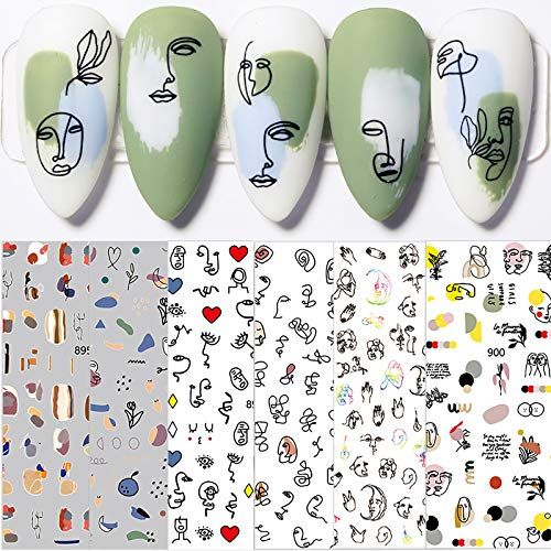 6 Sheets Colorful Cute Graffiti Fun Nail Art Stickers Decals,3D Self-Adhesive Abstract Face Curve Graffiti Nail Design for Acrylic Nail Supplies,DIY Nail Decorations for Women Girls Kids