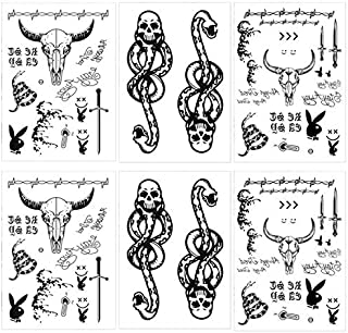 6 Sheets Malone Temporary Tattoos Set, Includes Face Neck Hands Arm Tattoos, Tribal Fake Knife Tattoo Stickers and Death Eaters Dark Mark Skull Tattoos for Halloween Cosplay Costume Favor