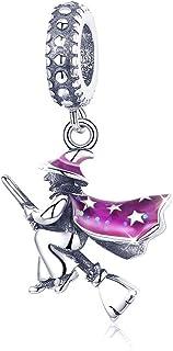 Abalorio de bruja mágica de plata de ley 925 con colgante de bruja y esmalte morado para pulsera