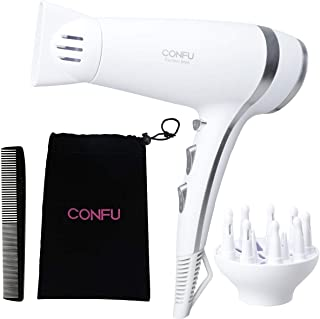Lightweight Professional Ionic Hair Dryer CONFU 1875W Fast Drying Quiet Blow Dryer with 2 Speed 3 Heat Cool Setting Nozzle Diffuser Hairdryers Bag ETL Certified White