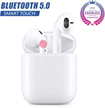 Bluetooth Headset, Bluetooth 5.0 Wireless Earbuds, Built-in Handsfree Microphone and Charging Case, Noise Reducing 3D Stereo, Pop-ups Auto Pairing, in-Ear Headphones for Apple Airpods Android/iPhone