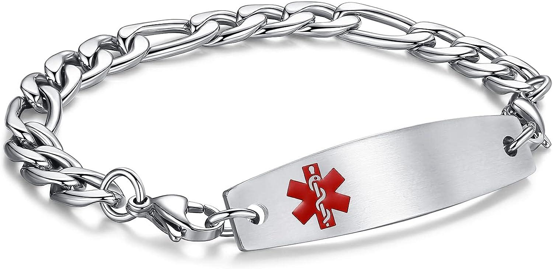 LinnaLove-Stainless Steel Figaro Chain Interchangeable Medical Alert Bracelets