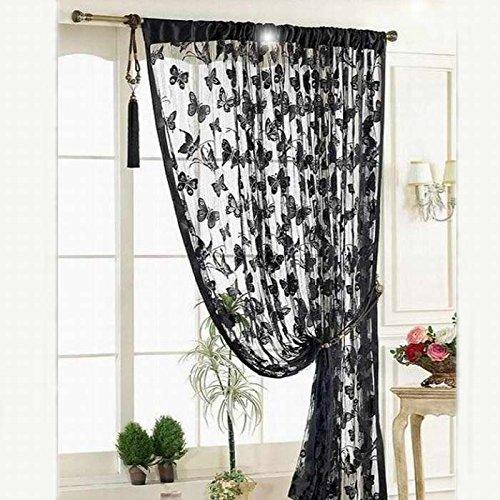 Hukz Neue Schwarz Tür Fenstervorhang Raumteiler Streifen Quaste Schmetterling Muster(100*200cm) (Schwarz)