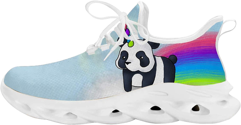 Rainbow Unicorn Panda Bear On Cloud Unisex Adult Athletic Walking Blade Running Tennis Shoes Fashion Sneakers