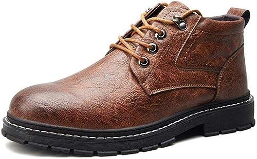 GZ Herrenschuhe, Mikrofaser Herbst Winter Retro Werkzeug Stiefel, Schnürschuhe Martins, Freizeitschuhe, Formelle Business-Schuhe