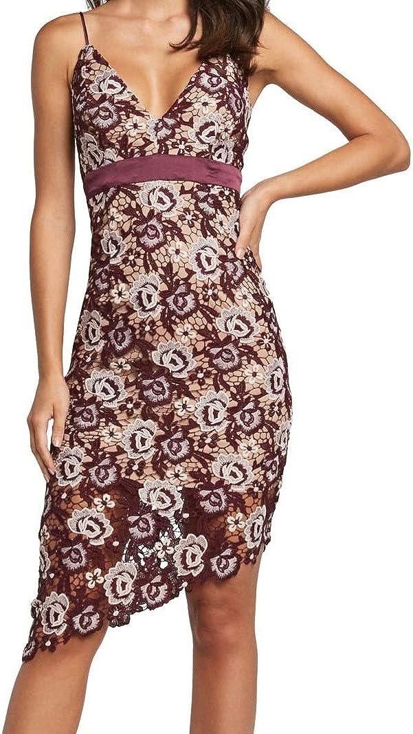 Bardot Women's Dalia Asymmetrical Lace Dress Red Size Large