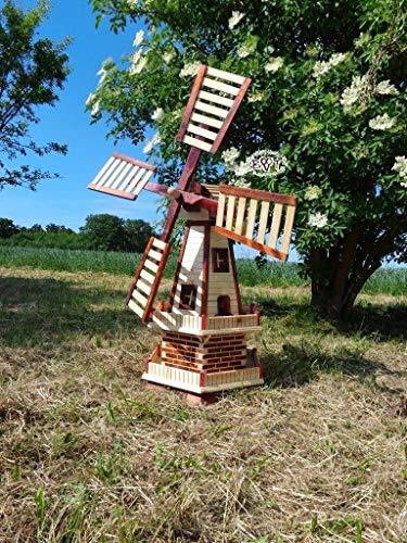 BTV Ölbaum Robuste Holz-Windmühle, für Pferde-Weide und Garten 100 cm, BRAUN HELL zweistöckig MIT 2 BALKONEN, Garten windmühlen, ohne/mit Solar, WMH100he-OS 1 m groß Hellbraun braun