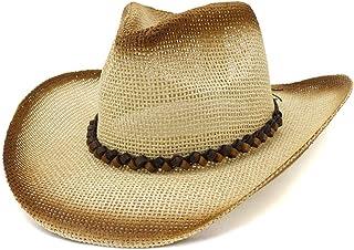 SHENTIANWEI Fashion Western Cowboy Straw Hat Outdoor Travel Seaside Beach Sun Hat Visor Generous Simple Fashion Plain
