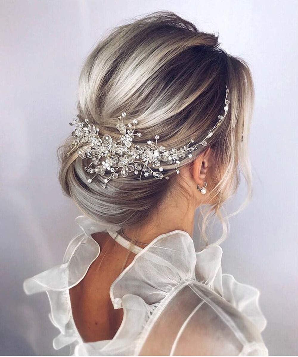 Dainty bridal headpiece Elegant silver wedding hair comb Silver crystal flower bridal hairpiece Silver tiara Silver bridal hair piece