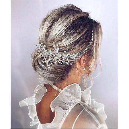 Amazon Com Denifery Crystal Headband Bridal Hair Piece Bridal Hair Accessories Bridal Hair Vine Wedding Headpiece Hair Pieces Wedding Hair Piece Wedding Hair Accessories Silver Beauty