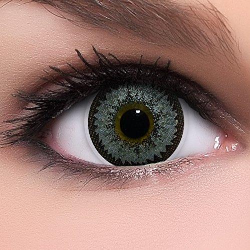Circle Lenses silberne 'Silver Spark' ohne Stärke + Behälter 14,50mm farbige Kontaktlinsen